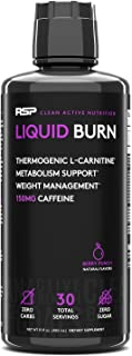 RSP Liquid Burn - Liquid Thermogenic Fat Burner, Energy, and Metabolism Support, Zero Sugar, Berry, 30 Servings