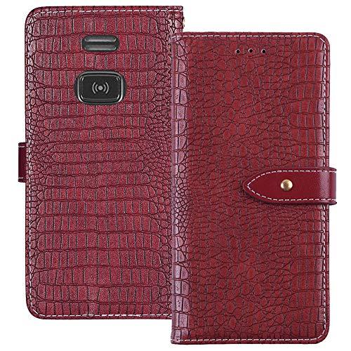 YLYT Flip Hülle Etui Rot Leder Tasche Schutz Hülle Für Doro PhoneEasy 508 X Handy Horizontale Standfunktion Magnetverschluss Strapazierfähiger Cover