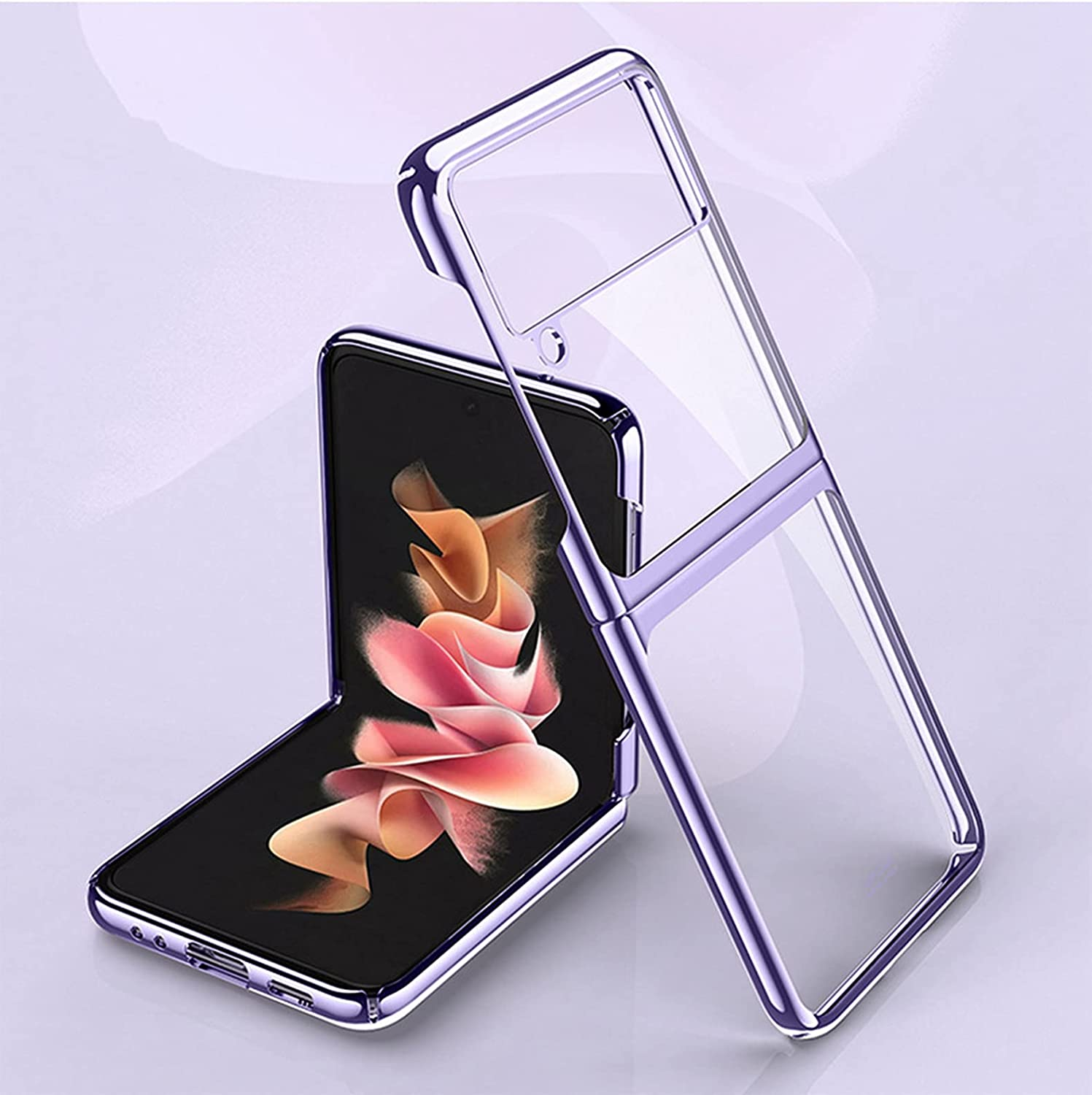 Z Flip 3 Case, Slim Case for Samsung Galaxy Z Flip 3, Luxury Transparent Plating PC Crystal Cove Finish Anti-Scratch Shockproof Protective Case for Samsung Galaxy Z Flip 3 5G. (Purple)