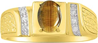 RYLOS Mens Classic Oval Gemstone & Genuine Sparkling Diamond Ring in 14K Yellow Gold Plated Silver .925-8X6MM Color Stone ...