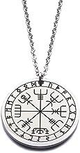 Ciondolo vichingo pagano, collana in acciaio inossidabile con rune di Vegvisir, elder futhark, mitologia norrena nordica, ...
