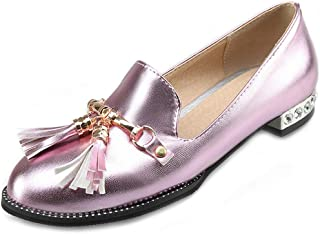 Bonrise Flat Tassel Oxford Loafers Shoes for Women Round Toe Slip-On Studded Metallic Classic Dress Oxfords