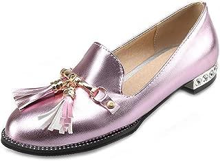 Bonrise Flat Tassel Oxford Loafers Shoes for Women Round Toe Slip-On Studded Metallic Classic Dress Oxfords