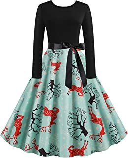 Auifor, Vestido Vintage con Estampado navideño de Manga Larga Vintage para Mujer Cinturón con Lazo Vestido de Fiesta para Fiesta de ama de casa de los años 50(Verde/Medium)