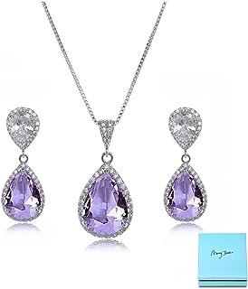 AMYJANE Elegant Jewelry Set for Women - Silver Teardrop Clear Cubic  Zirconia Crystal Rhinestone Drop Earrings 8ce370725466