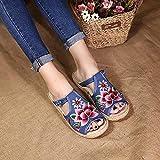 RHH Shop Lotus Bordado Mujer Ropa de algodón Zapatillas Planas Zapatillas de Verano Damas Hechas a Mano cómodas Zapatos de alparceles (Color : Blue, Size : 37 EU)