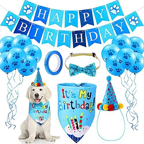 Xnuoyo Cane Compleanno Bandana Cappello Papillon Banner Set, Cane Gatto Pet Carino Papillon Triangolo Sciarpa Forniture per Feste di Compleanno Decorazioni 10 Pcs Palloncini di 12'con Nastro(Blu)