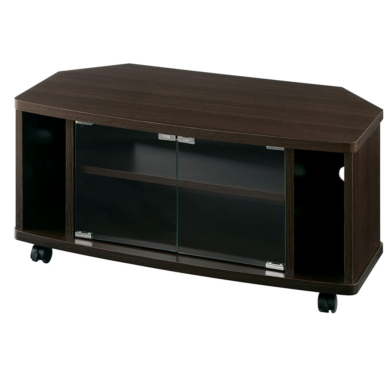 プロット寝てるはさみぼん家具 テレビ台 32型 コーナー 木製 扉付き オーディオラック 幅80cm ブラウン