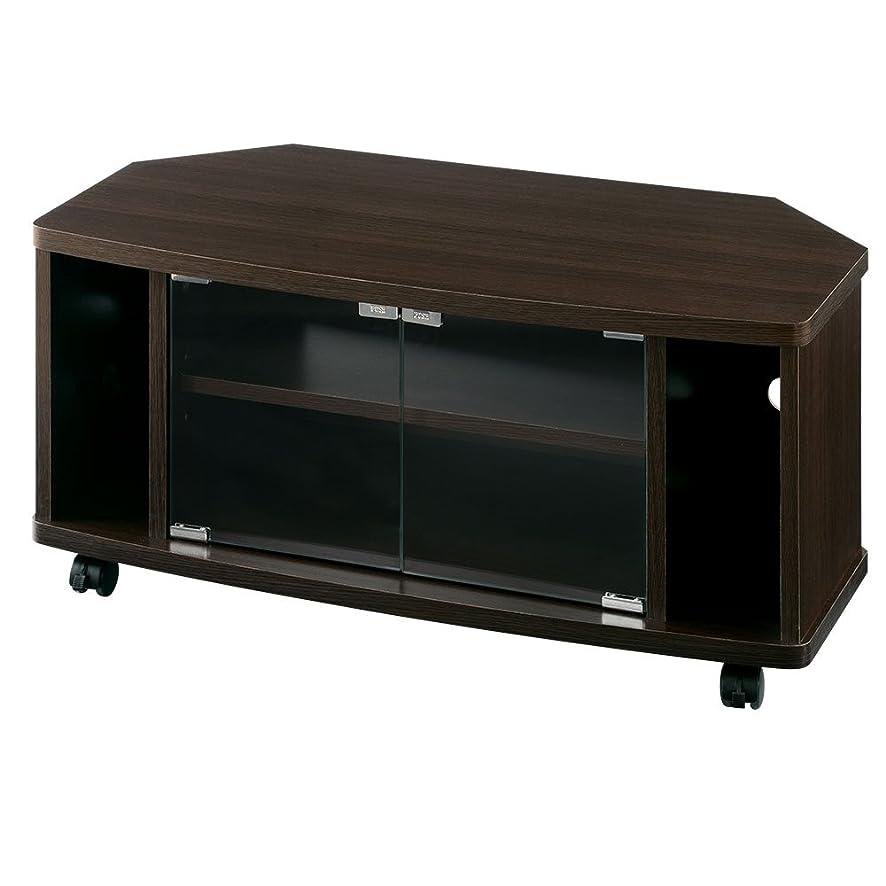 排除する贈り物悪性ぼん家具 テレビ台 32型 コーナー 木製 扉付き オーディオラック 幅80cm ブラウン