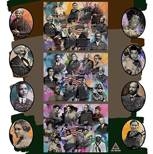 777 Tri-Seven Entertainment Famous Black History People Poster Series 1-3 (Bundle), 24x18, Multicolor
