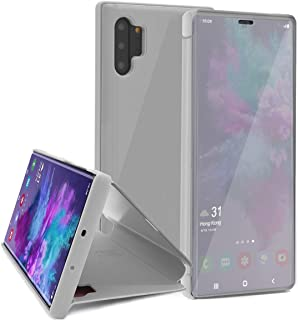 Omorro Smart Case for Galaxy Note 10 Wireless Charging Support Window's View Design Flip Wallet 360 Full Body Built-in Screen Protector Slim Electroplate Plating Mirror Stand Cover