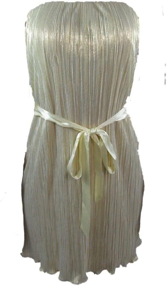 Aqua Brand Strapless Ivory Novelty Cocktail Dress Gold Metallic