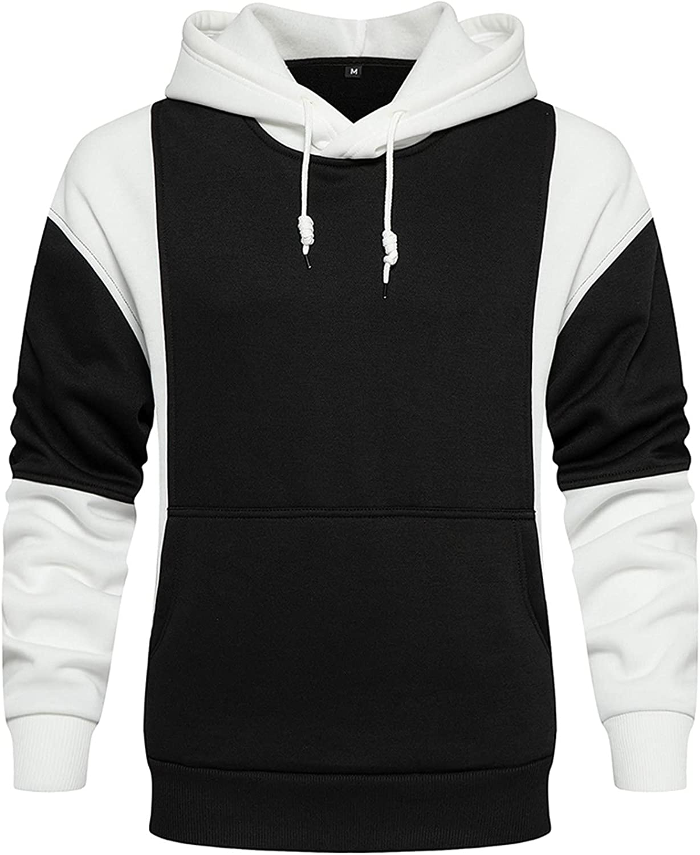 WUAI-Men Contrast Raglan Long-Sleeve Hooded Sweatshirt Colorblock Casual Lightweight Soft Blend Fleece Hoodies Pullover
