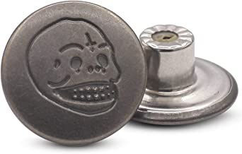 17mm Skull and Bones Gun Black Jean Buttons No-Sew Tack Buttons Kit