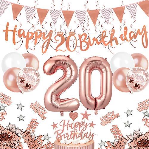 Humairc 20 ans décorations anniversaire or rose, 20 joyeux anniversaire bannière Triangle drapeau bannières 6pcs tourbillon suspendu, Ballon Chiffre gâteau Decorations Confetti femmes filles