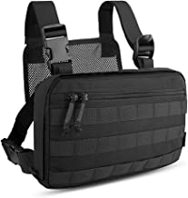 KRYDEX Chest Bag Tactical Combat MOLLE Pouch Heavy Duty Radio Chest Harness Multi-Function Tool Vest for Hiking,Bicycling,Motorcycle Riding,Fishing