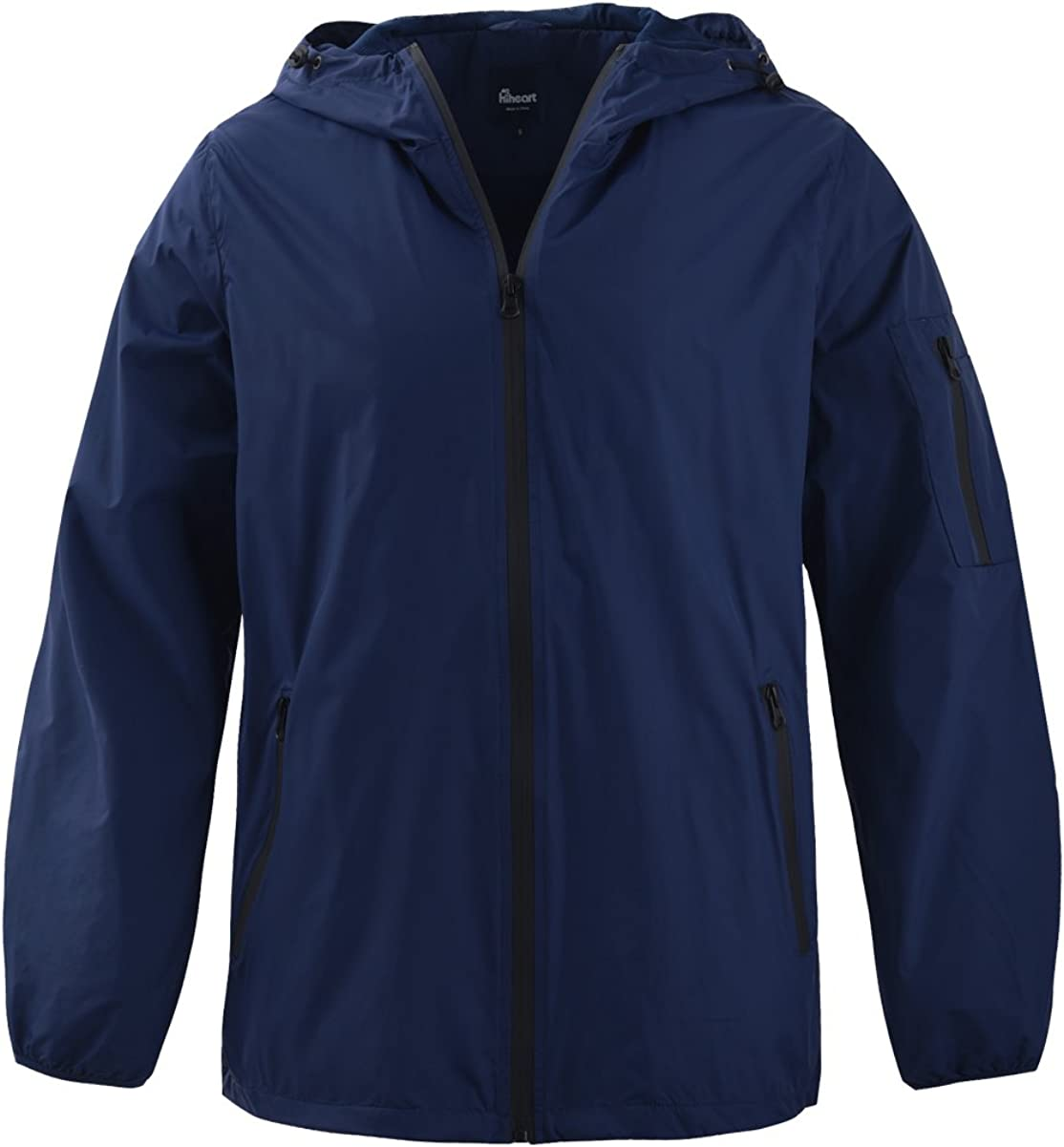 Hiheart Mens Outdoor Waterproof Mesh lined Runnning Jacket with Hood