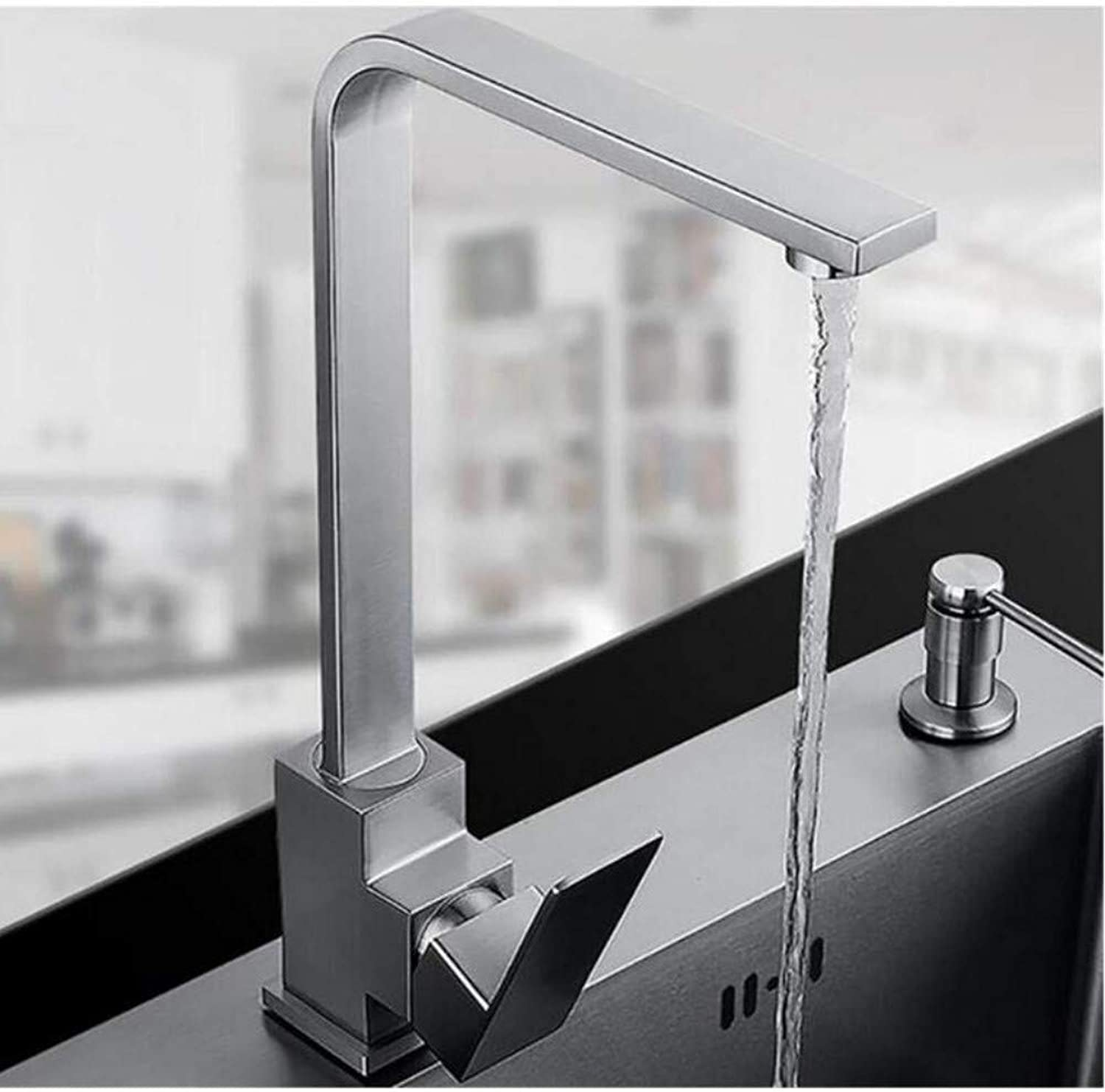 Chrome-Plated Adjustable Temperature-Sensitive Led Faucetfaucet Mixer Sink Faucet Surface Brushed Water Tap 360 Degree redation