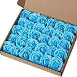 MACTING Artificial Rose Flower, 30pcs Real Touch Artificial Roses for Valentine's Day Mother's Day DIY Bouquets Wedding Party Baby Shower Home Decor (Teal Blue)