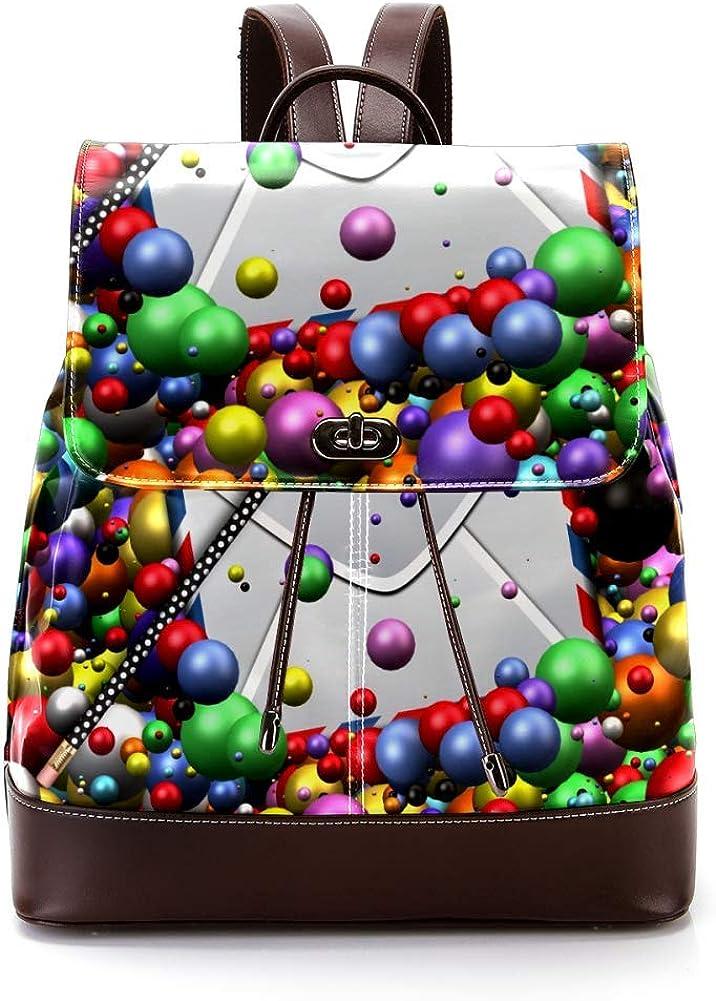 Ball Email PU Leather Backpack Fashion Shoulder Bag Rucksack Travel Bag for Women Girls