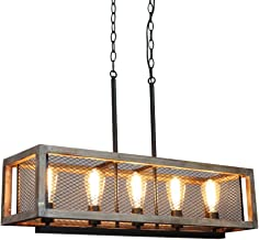 TABLIGHT Rectangle Birch Wood Metal with 5-Lights Internal Grid Wire Design Pendant Lamp Light Antique Design Ceiling Lamp...