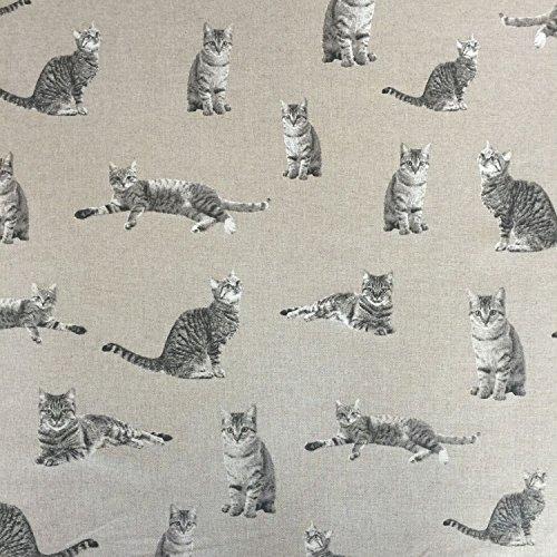 Classic Tiere Katzen Design Baumwolle Rich Leinen Look Stoff für Vorhänge Jalousien Craft Quilting Patchwork & Upholstery 139,7cm 140cm breit, Meterware,