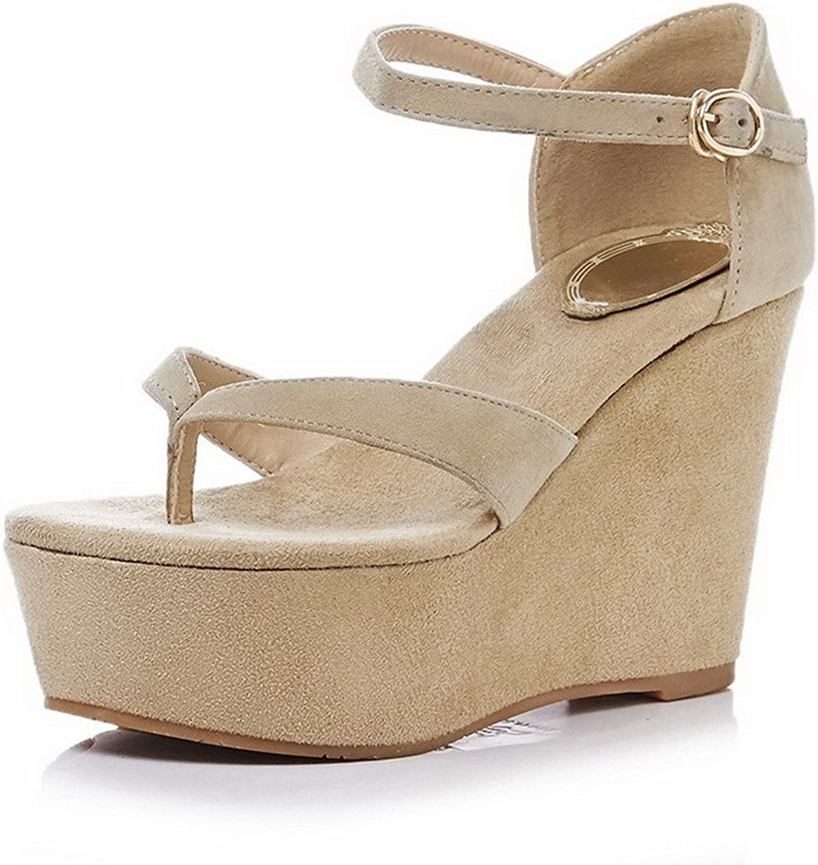 AllhqFashion Women's Frosted Split Toe High Heels Buckle Solid Sandals
