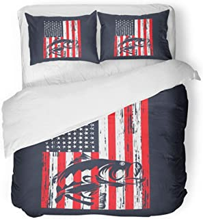 Emvency Bedding Duvet Cover Set Full/Queen (1 Duvet Cover + 2 Pillowcase) Blue Distressed of American Flag with Bass Fishing Red Fish Jumping America Animal Hotel Quality Wrinkle and Stain Resistant
