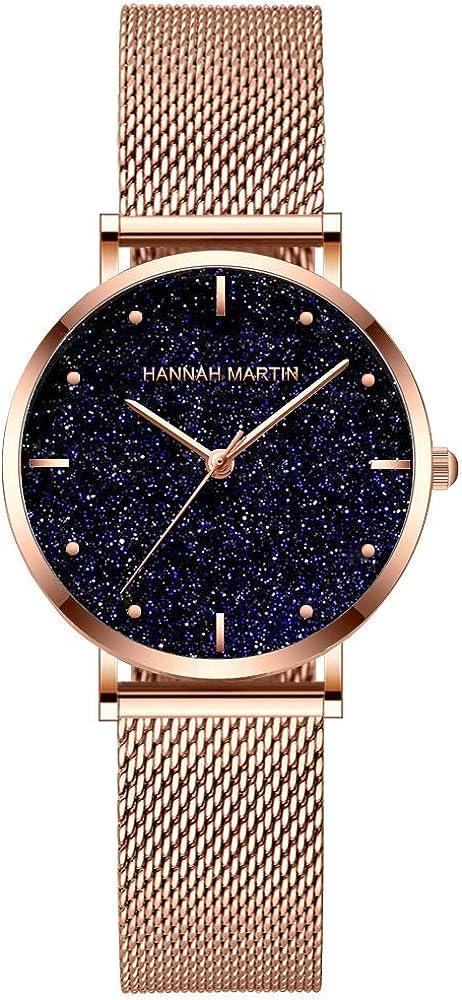 Reloj de pulsera de acero inoxidable con superficie mate para mujer, reloj de plata de oro rosa