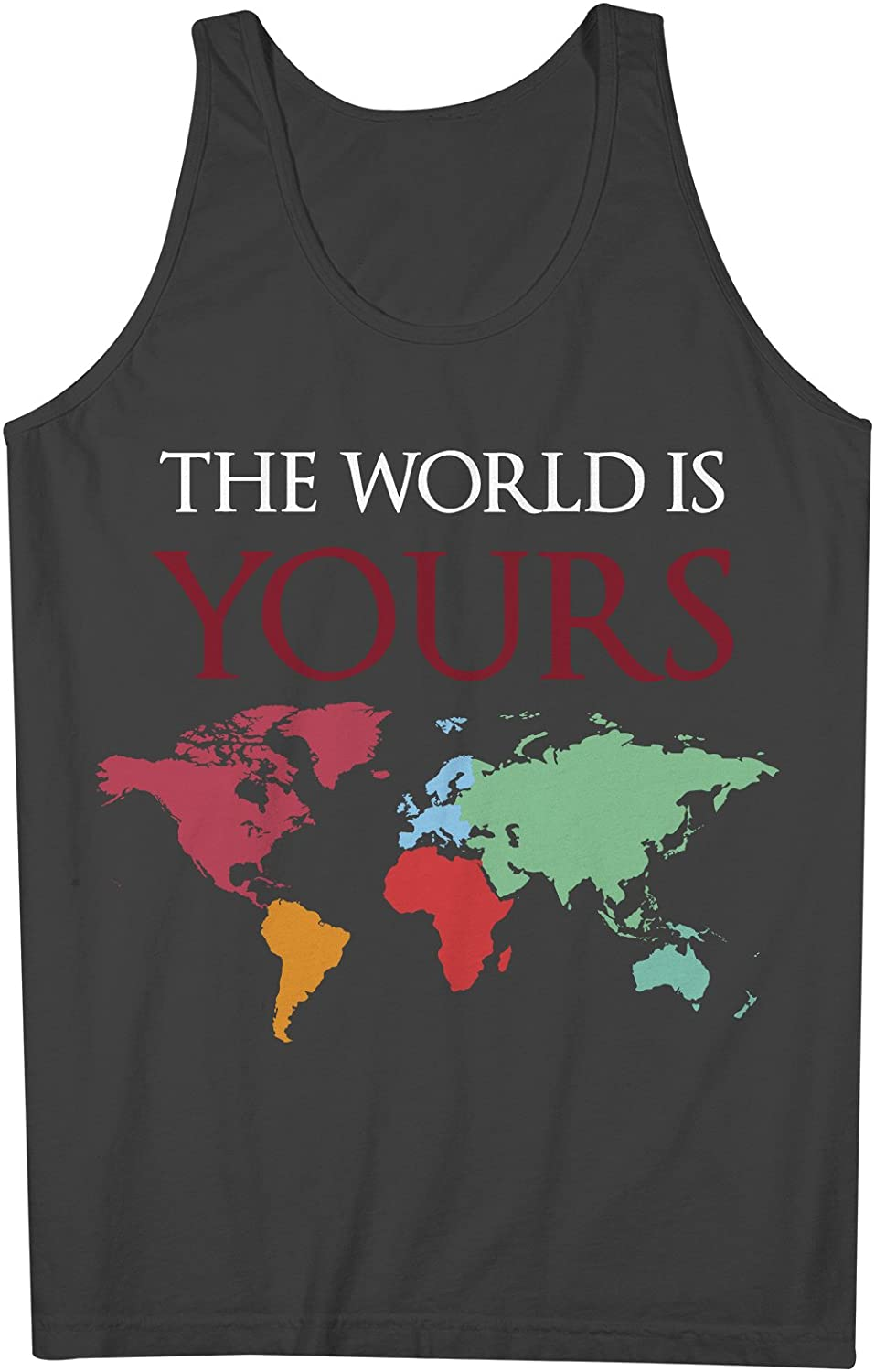 The World Is Yours World Map Traveling 男性用 Tank Top Sleeveless Shirt