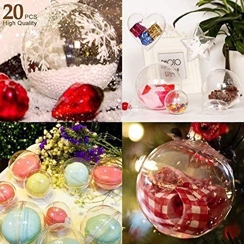 Trasparenti Palline di Natale Plastica Pallina Trasparente da Riempire Palline Sfere Apribili da...