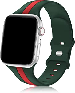 Designer Sport Band Compatible with Apple Watch iWatch Bands 40mm 38mm 41mm Men Women, Soft Silicone Strap Wristbands for Apple Watch Series7/6/5/4/3/2/1/SE [Army Green Red,38mm 40mm 41mm]