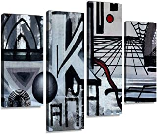 Grafitti Lost Places Abandoned Train Station Railway Station Spirit Canvas Wall Art Hanging Paintings Modern Artwork Abstract Picture Prints Home Decoration Gift Unique Designed Framed 4 Panel