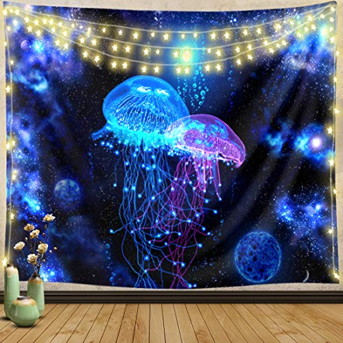 Trippy Tapestry Wall Hanging Boho Hippie Wall Tapestry Blanket Art Decor Psychedelic Blue Jellyfish Tapestry for Bedroom Dorm Living Room Tapestries