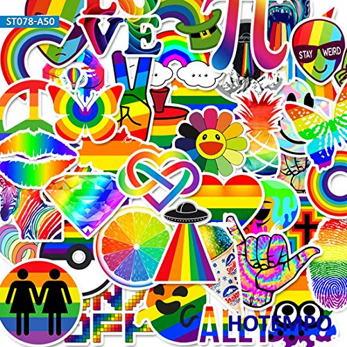 50pcs Colorful Rainbow Stickers for DIY Mobile Phone Laptop Luggage Suitcase Skateboard Fixed Gear Decal Stickers
