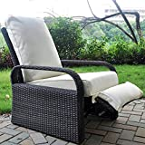 Outdoor Recliner Outdoor Wicker Recliner Chair with 5.12'' Thickness Cushions, Automatic Adjustable Rattan Patio Chaise Lounge Chairs, Aluminum Frame, UV Resistant and Rustless