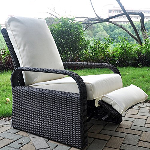 Chaise inclinable de patio en résine en résine extérieure avec coussins, Meuble de patio Canapé à rotin à réglage automatique, UV / Fade / Water / Sweat / Rust Resistant (Gris Wicker + Beige Coussin)
