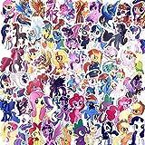 BLOUR 92 Piezas My Little Pony Pegatinas Princesa Unicornio Tema de Dibujos Animados Pull Box Pegatinas Coche Motocicleta Pared Graffiti Pegatina Juguetes