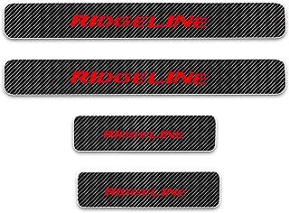 For Honda Ridgeline Door Sill Protector Reflective 4D Carbon Fiber Sticker Door Entry Guard Door Sill Scuff Plate Stickers Auto Accessories 4Pcs Red