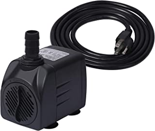 HDE 475 GPH (1798 L/H) Submersible Water Pump 25W Two Nozzle UL Certified Quiet Pump for Ponds Aquariums Fish Tanks Fountains and Hydroponic Systems with 6 ft Power Cord (Black)