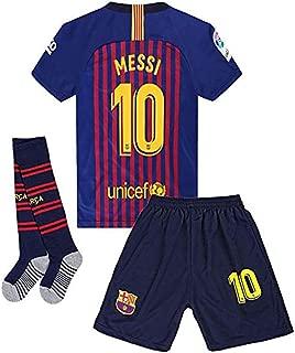 #10 Messi Barcelona Home 2018-2019 Season Kids or Youth Soccer Jerseys & Shorts & Socks Blue