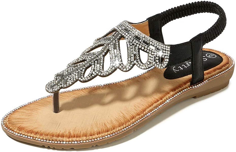 Caopixx Summer Women Bohemian Glitter Flat Sandals Beach Casual Crystal Flat Thongs Flip Flop shoes Black US 8