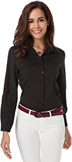 Atnlewhi Womens Basic Long Sleeve Button Down Shirts Simple Pullover Stretch Formal Casual Shirt
