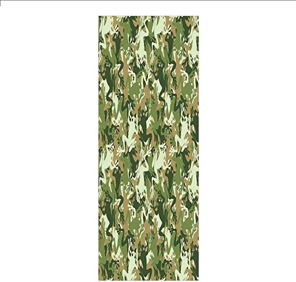 3D Decorative Film Privacy Window Film No Glue Animal Decor Skull Camouflage Military Design With Various Frog Pattern Different Tones ArtPrint Sage Pine Green For Home Office