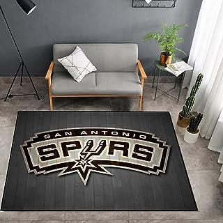 Tritow USA NBA Basketball Tapis NBA Spurs Logo Salon Tapis Antidérapant Facile à Nettoyage 3D Tapis De Zone d'impression C...