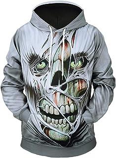 Wen Qiao 2019 Fashion Unisex Graphic Hoodie Mens 3D Printing Sweatshirt