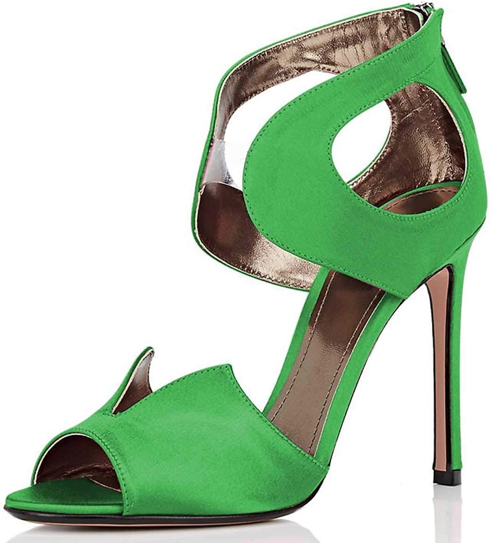 FSJ Women Cocktail Peep Toe Sandals Satin Cutout High Heels Stilettos Pumps Party shoes Size 4-15 US