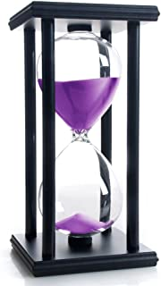 Hourglass 60 Minutes Purple Sand Timer, Black Wooden Frame Sandglass