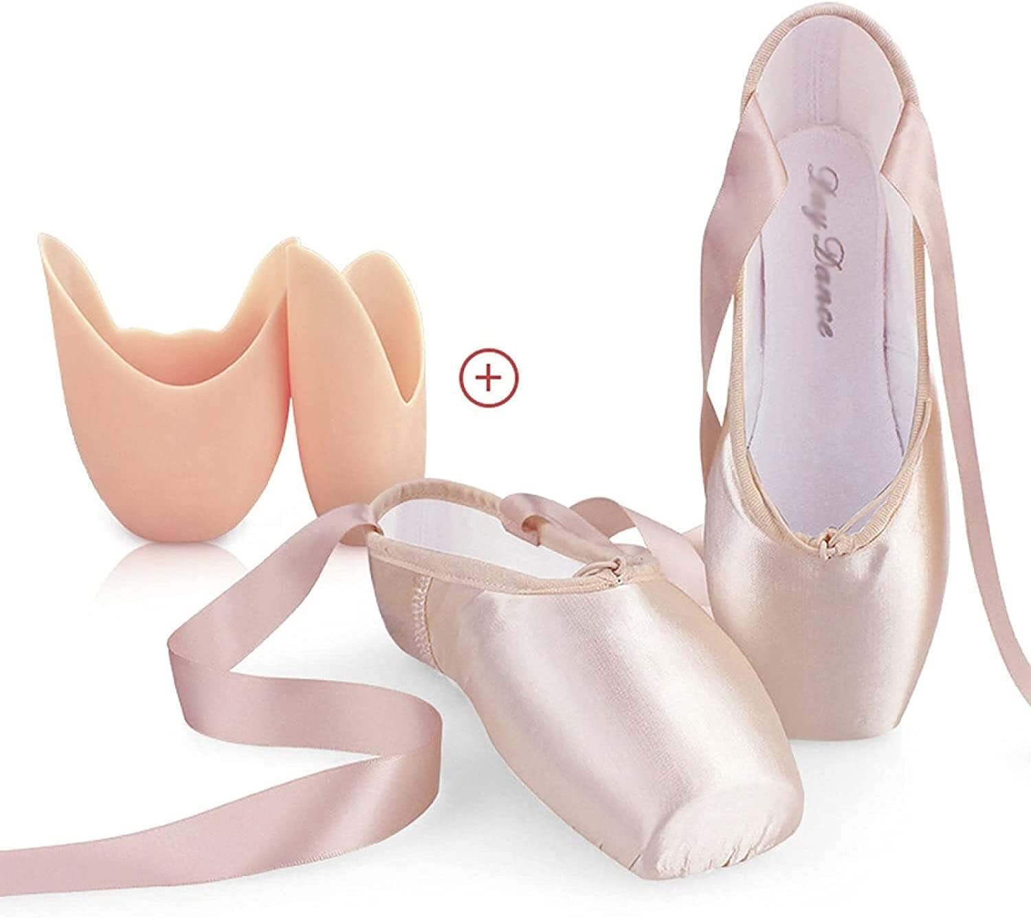Women Girls Professional Ballet Pointe Shoes, Dance Shoes with Sewed Ribbon and Silicone Toe Pads (Color : Pink Toecaps, Size : 43 EU)