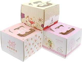 "12 pcs Decorative Cardboard Bakery Cake Boxes, 5.5""X5.5""X4"""